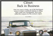 <em>Collectible Automobile</em> runs a six-page article on the Clenet&acute;s resurgence in September 1985.