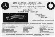 The Clenet Series III Asha is advertised by Jim Marino Imports, of Pasadena, California, one of many Clenet dealers throughout the world, in 1985.