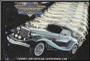 The front cover of the October-December 1986 issue of <em>Automotive Hall of Fame News</em> proclaims Clenet as the Official Centennial Car.
